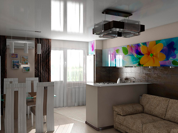 кухня студия маленькая дизайн фото